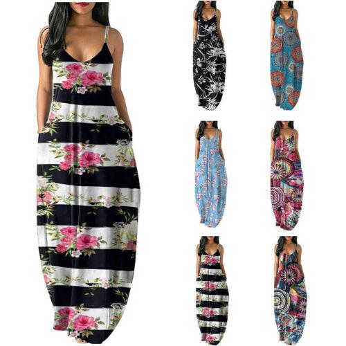 Summer Women Casual V Neck Maxi Sleeveless Floral Slim Pockets Loose Long Dress