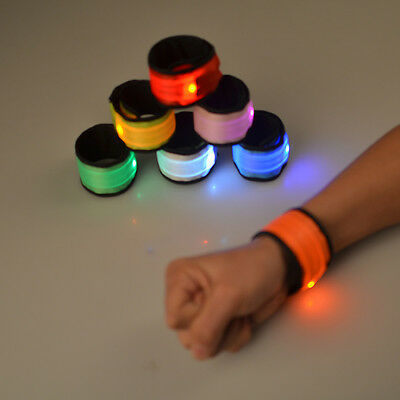LED Slap Band Glowing Wristband Light Up Reflective Gear Bracelet For Women Men