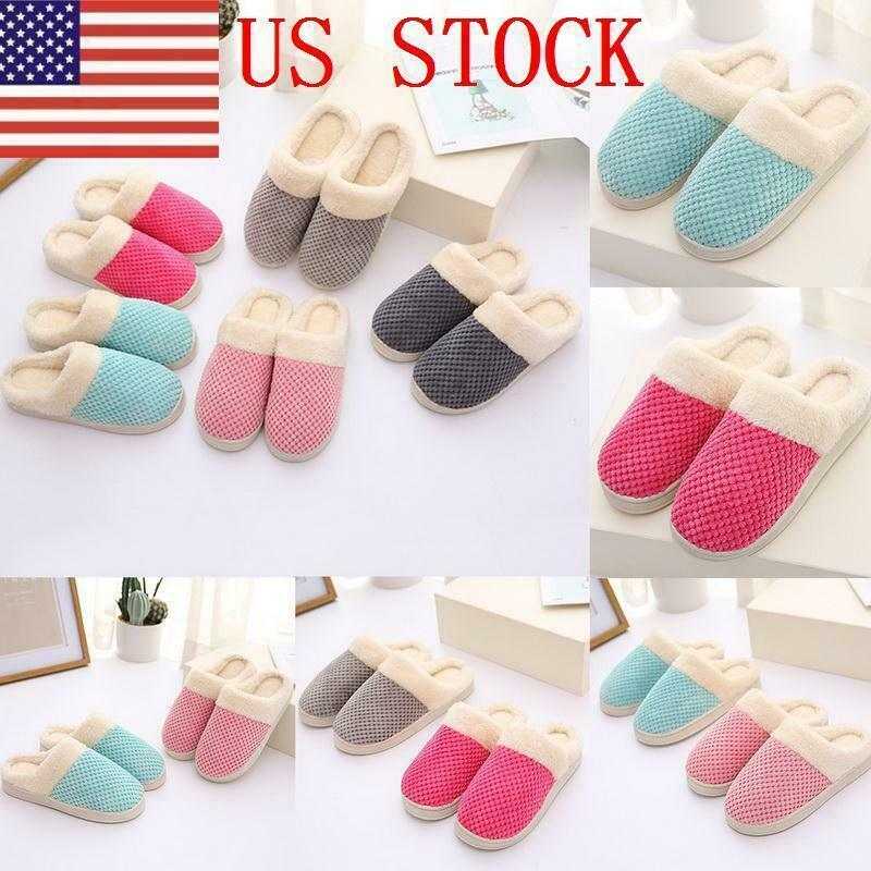 ILJ Unsiex Slippers Winter Plush Slippers Home Non-Slip Cuddly Wide Slipper US