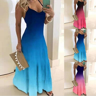Womens Plus Size Sleeveless Strappy Boho Summer Holiday Maxi Casual Swing Dress
