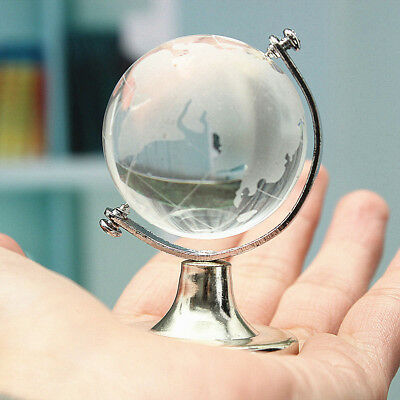 Clear World Map Earth Round Globe Crystal Glass Paperweight Decoration For Gift