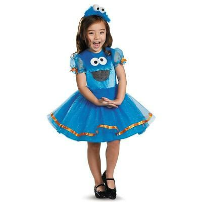 Girl DELUXE COOKIE MONSTER Costume Sesame Street Blue Tutu Dress Child Small 4 6 (Cookie Girl Costume)