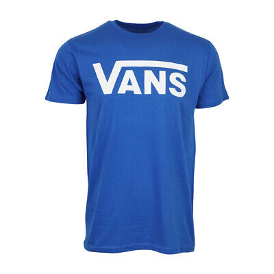 VANS MENS LOGO T SHIRT BLUE WITH WHITE