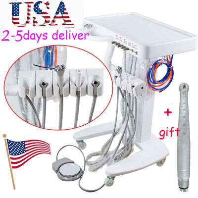 Portable Dental Delivery Unit Mobile Cart Compressor System Movable Handpiece Ce