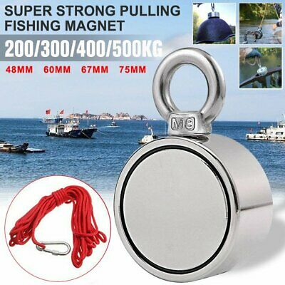 1100lb Fishing Magnet Kit Strong Neodymium Pull Force Treasure Hunt W Long Rope