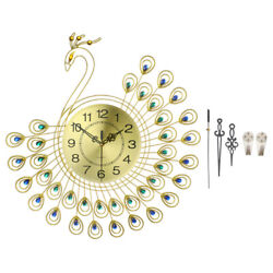 53*53cm Gold Diamond Peacock Wall Clock 3D Metal Watch Home Living Room Decor