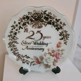 Silver wedding anniversary celebration plate