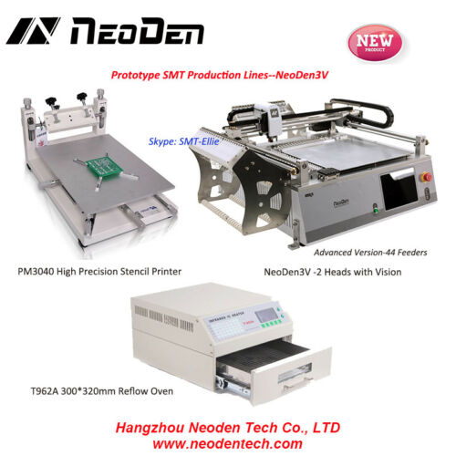 NeoDen3V+PM3040+T962A 42 feeder, Dekstop pick and place machine SMT line -EW