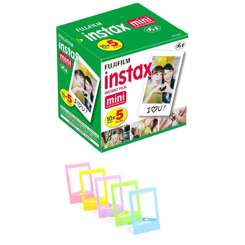 50 Prints Fujifilm Instax Mini Instant Film + Frames for Fuji Mini 8 - 9 Cameras