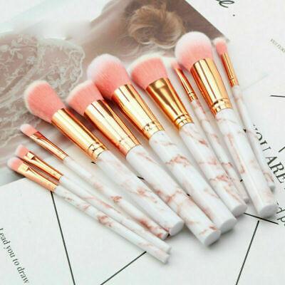 UK Marbling Kabuki Make up Brush Set Brushes Blusher Face Powder Pink Gold 10Pcs