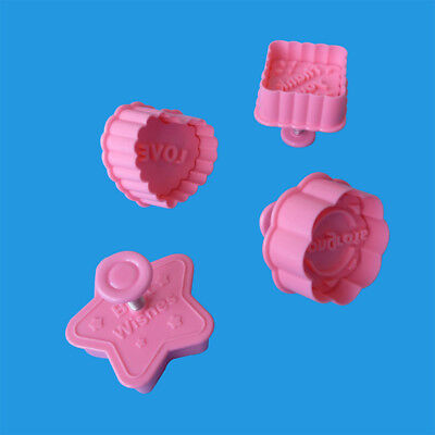 Star Heart Shape Cookie Cutter Stamp Square Biscuit Pastry Fondant Plunger DIY - Star Plunger Cutter