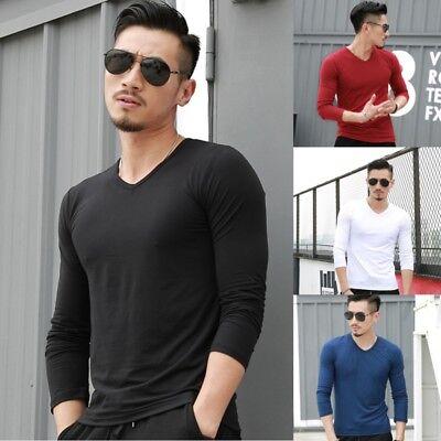 Men Winter Warm V-neck Long Sleeve T-Shirt Slim Solid Stretch Basic Tee Shirts