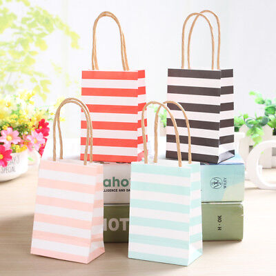 20 pcs Striped Kraft Paper Gift Bag Small Wedding Candy Favor Bag With Handle](Small Kraft Paper Bags)