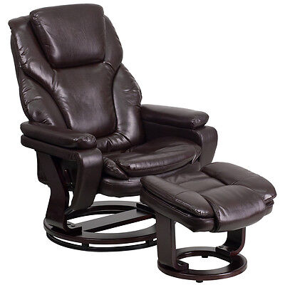 Flash Furniture Contemporary Brown Leather Recliner and Ottoman with...