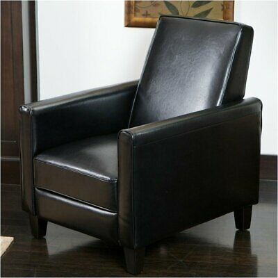 Bowery Hill Leather Recliner Club Chair in Black