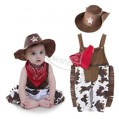 Baby Boy Halloween Cowboy Western Sheriff Fancy Costume Outfit + Hat Set - Western Baby Halloween Costumes