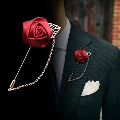 Chain Rose Brooch (Men Lapel Pin Rose Brooch Suit Chain Breastpin Wedding Party Fashion)