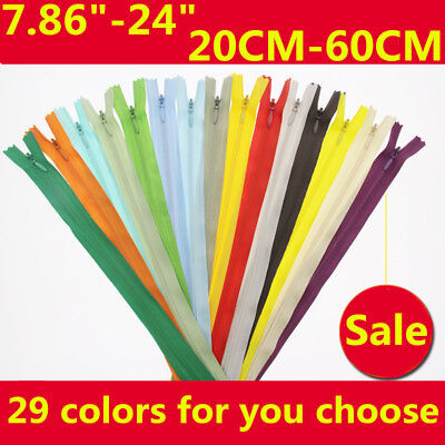 Nylon Zipper 3# Invisible Zippers Tailor Sewing Craft 29 Colors 8 Inch - 24 Inch 3 Nylon Zipper