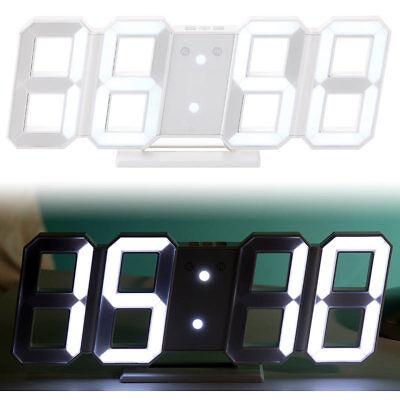 Uhr: Digitale Jumbo-LED-Tisch- & Wanduhr, 3D, Wecker, dimmbar, 28 cm (Uhr LED)