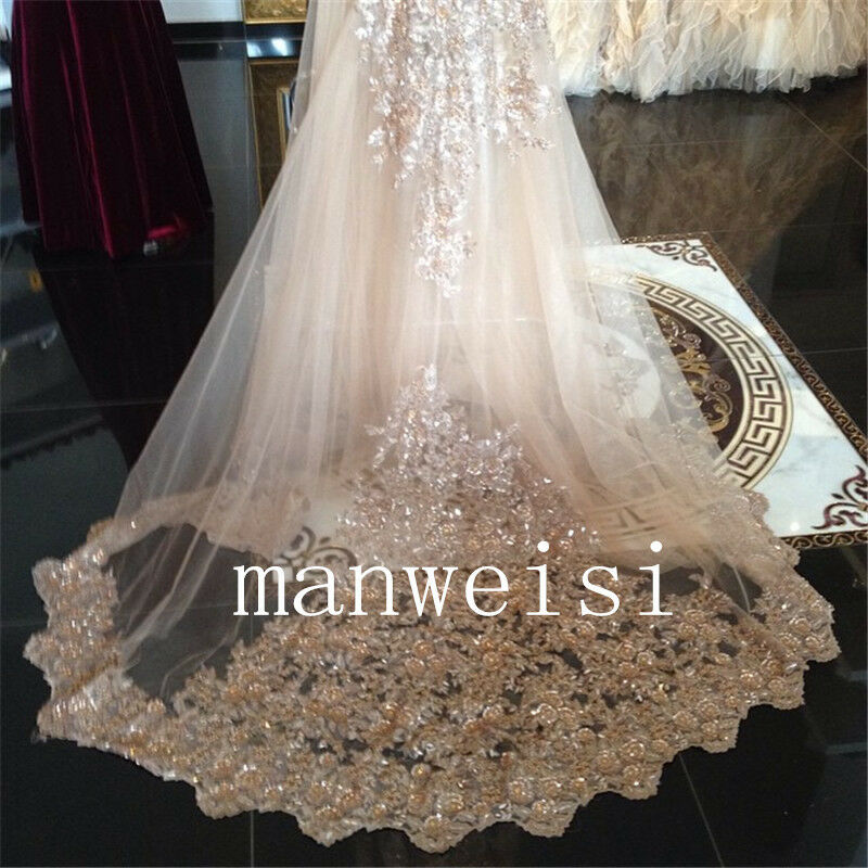 White Ivory Wedding Veils 3M Cathedral Bridal Veil Lace Applique Sequin 1T