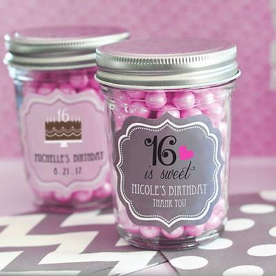 Pink Sweet 16 Themes (96 Personalized Sweet 16/15 Birthday Theme Mini Mason Jars Birthday Party)