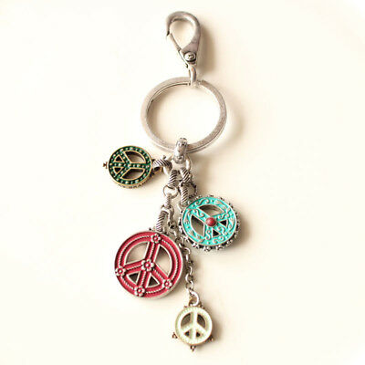 New Lucky Brand Peace Sign Key Chain Key Ring Fashion Women Bag Charm Best Gift