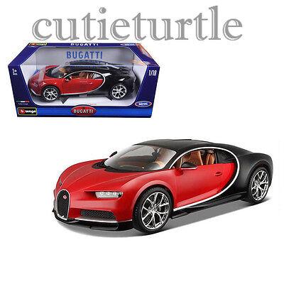 Bburago 2016 Bugatti Chiron 1 18 Diecast Model Car 18 11040 Red Black