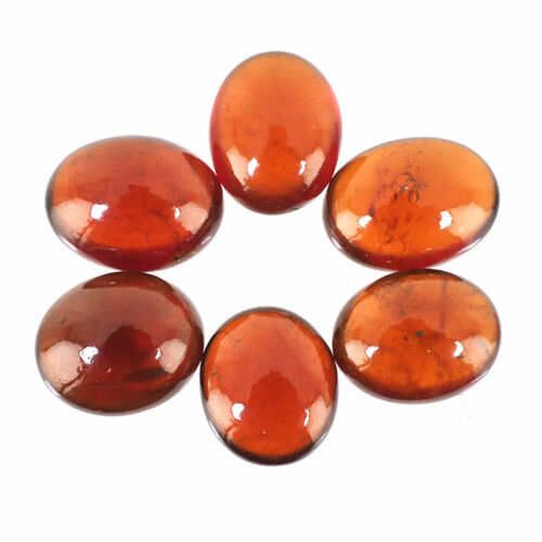 38.10 Cts/6 Pcs Natural Hessonite Garnet Untreated Loose Cabochon Gemstones Lot