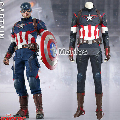 Avengers Age Of Ultron Captain America Costume (Avengers 2 Age of Ultron Steve Rogers Costume Captain America Cosplay)