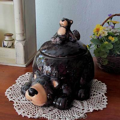 "They're Cute! WOODLANDS 9"" BEAR COOKIE CANDY JAR CANISTER Lodge Kitchen Decor"