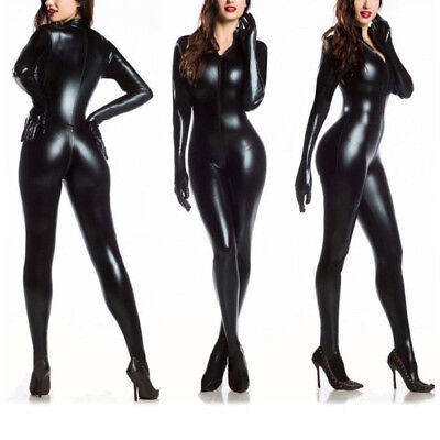Womens Black Catsuit (Women's Vinyl PVC Wetlook Leather CATSUIT CLUBWEAR Bodysuit Motor Jumpsuit)
