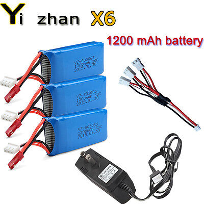3x 1200mAh 7.4V Battery Set+Charger+ports Cable For JJRC H16 YiZhan Tarantula X6