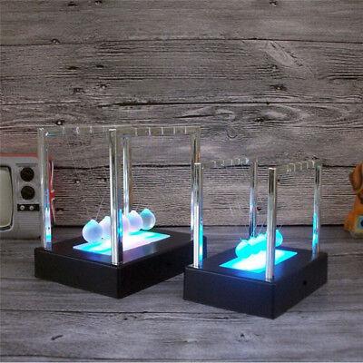 Light Up Newtons Cradle Balance Ball Home Decor Office Science Desktop Toy