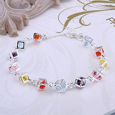 (Fashion Womens 925 Sterling Silver Colors CZ Crystal Charm Box Bracelet  #B163)