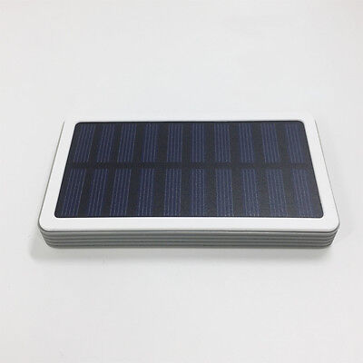 Portable Solar Power Bank 5000mAh Fast Qi Wireless Charger Pad USB Charger Gray