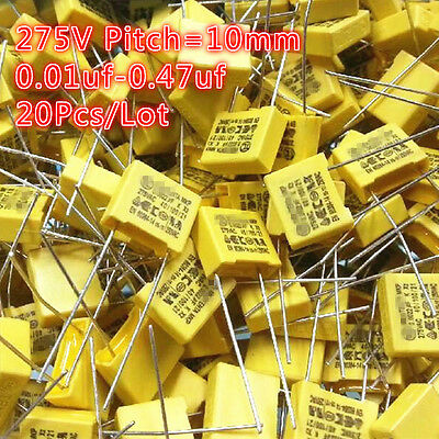 20pcs 0.01uf-0.47uf 10nf-470nf 275vac 275v 10mm X2 Polypropylene Film Capacitor