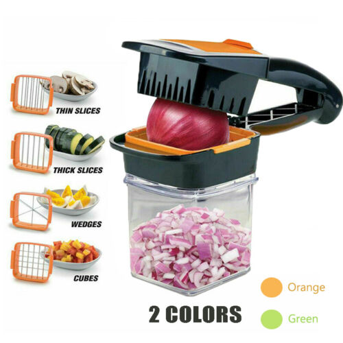 Food Chopper Dicer 3 Stainless Steel Blades Container Vegeta