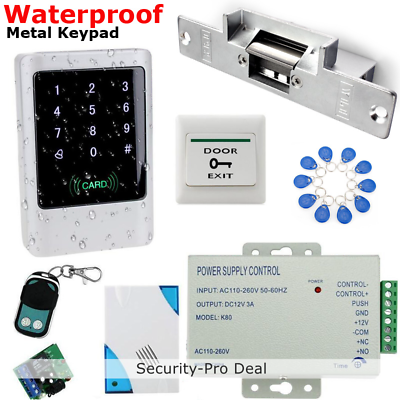 IP68 Waterproof RFID Card+Password Door Access Control System+Strike Lock+Remote