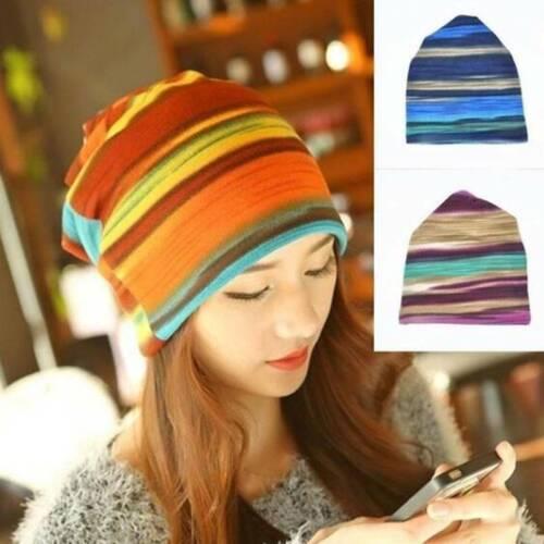 Fashion Women Winter Warm Striped Hat Beanie Scarf Collar Tu