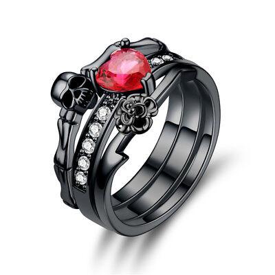 Skull Skeleton Engagement Ring Set Women's Rings Fashion Goth Punk Jewelry  ()