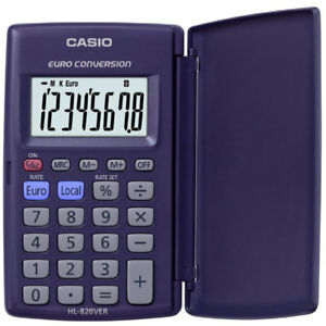 CASIO 8 DIGIT LC DISPLAY CALCULATOR EURO CONVERSION POCKET Compact W CASE HL820