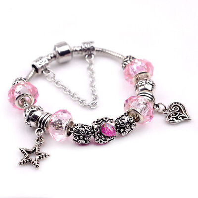 Crystal Star Charm Bracelet - Women 925 Silver Plated Pink Crystal Star Heart Beaded Charm Bangle Bracelet
