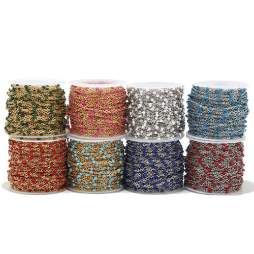 2 Meters Stainless Steel Enamel Ball Chain Link Cable Chains for DIY Necklaces