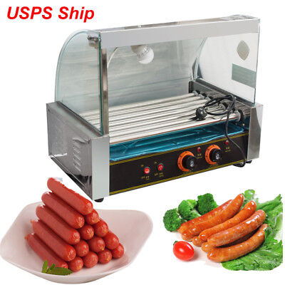 Commercial 18 Hot Dog 7 Roller Grill Cooker Machine 1050w W Cover Drip Tray