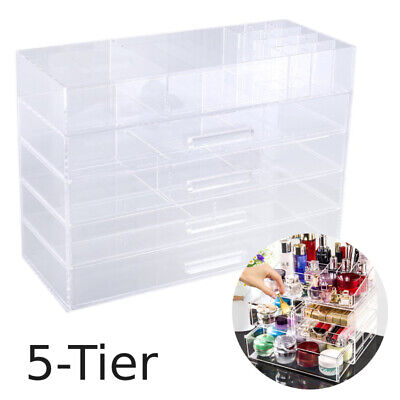 5 Tiers Acrylic Clear Makeup Case Cosmetic Organizer Drawers Jewelry Storage DK