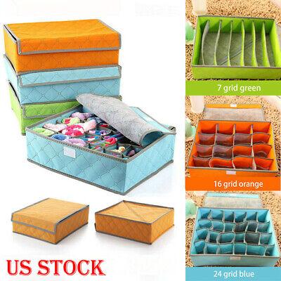 Foldable Closet Drawer Organizer Divider Storage Box For Underwear Bra Sock USA ()