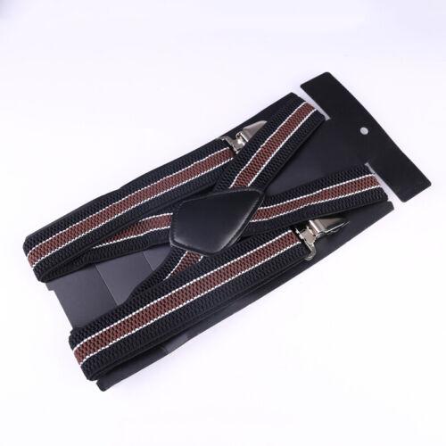 Mens 40mm High Elasticity Braces Adjustable Trousers Suspenders - Brown Stripes