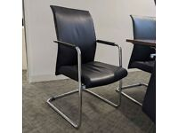 FREE SAME DAY DELIVERY - Brown Leather Cantilever Meeting Chairs