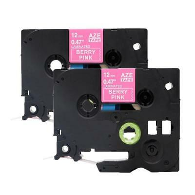 2pk Replace For Brother P-touch Tze-mqp35 Label Tape White On Berry Pink 12mmx5m