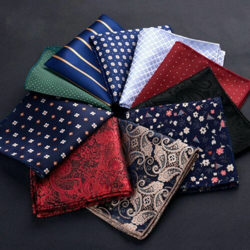 Men Silk Pocket Square Hankerchief Fashion Floral Paisley Dot Hanky Party Gift